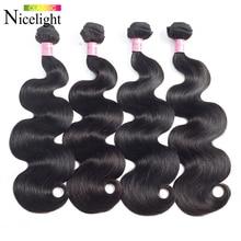 מלזי שיער חבילות גוף גל חבילות טבעי שיער טבעי Nicelight 1/3/4 חבילות הרחבות 3 צרור להתמודד כל מכירה