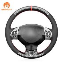 Mevouloir – housse de volant de voiture en daim noir, PU, Fiber de carbone, pour Mitsubishi Lancer X 10 Outlander ASX Colt Pajero Sport