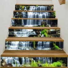 Autocollants de sol pour monter les escaliers 3D, 6 pièces, 100x18cm, imperméables, amovibles, auto-adhésifs, pour bricolage