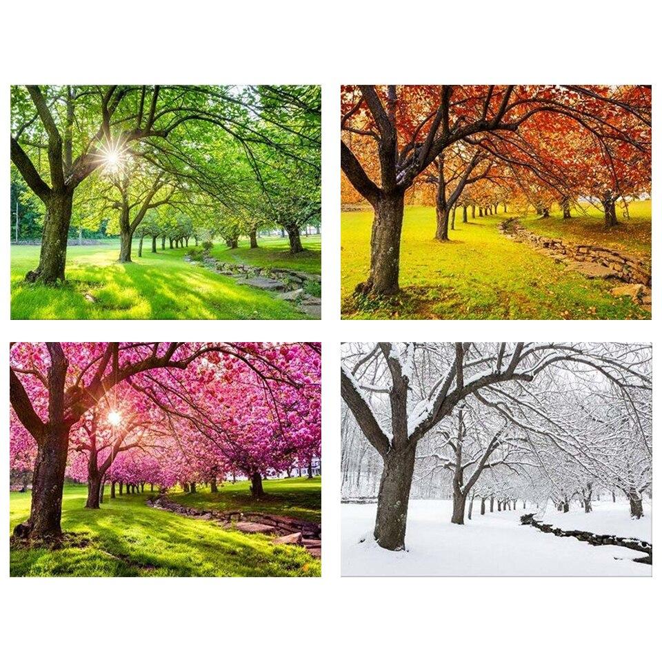 5D DIY Diamond Painting Trees Spring, Summer, Autumn, Winter, Four Seasons, Home Decor, Picture, Rhinestone, Mosaic, Art Kit