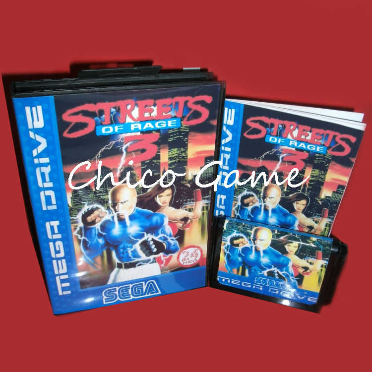 Streets of Rage 3 with Box and Manual for Sega MegaDrive Video Game Console 16 bit MD card