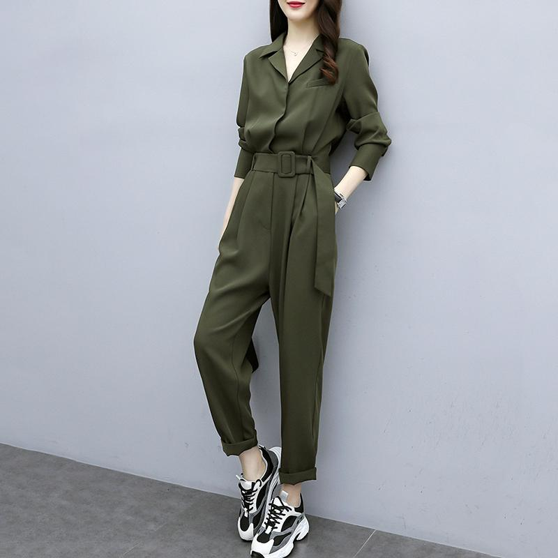 Women 2020 Spring Autumn Long Sleeve Slim Casual Jumpsuit Female Belted Waist Wide Leg Pants Lady Fashion Elegant Overalls N343