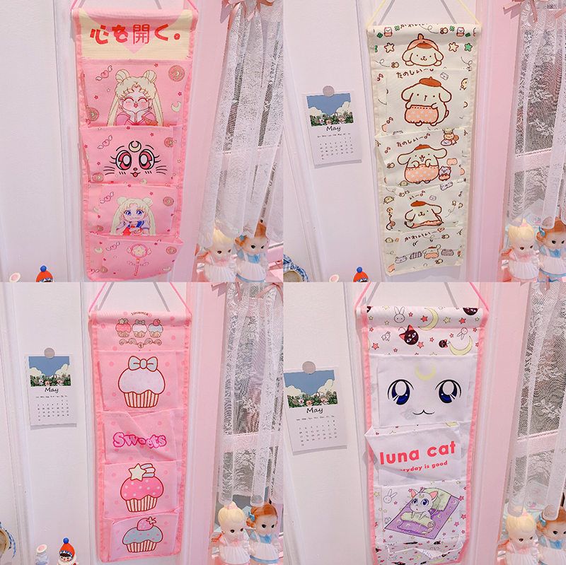 Cute Cartoon Sailor Moon Melody Wall Hanging Storage Bag Fashion Toy Makeup Organizer 4 Pockets Hanging Storage Pouch