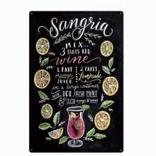 Original do vintage design sangria cocktail receita estanho sinais de metal arte da parede, folha de flandres grossa impressão cartaz decoração da parede
