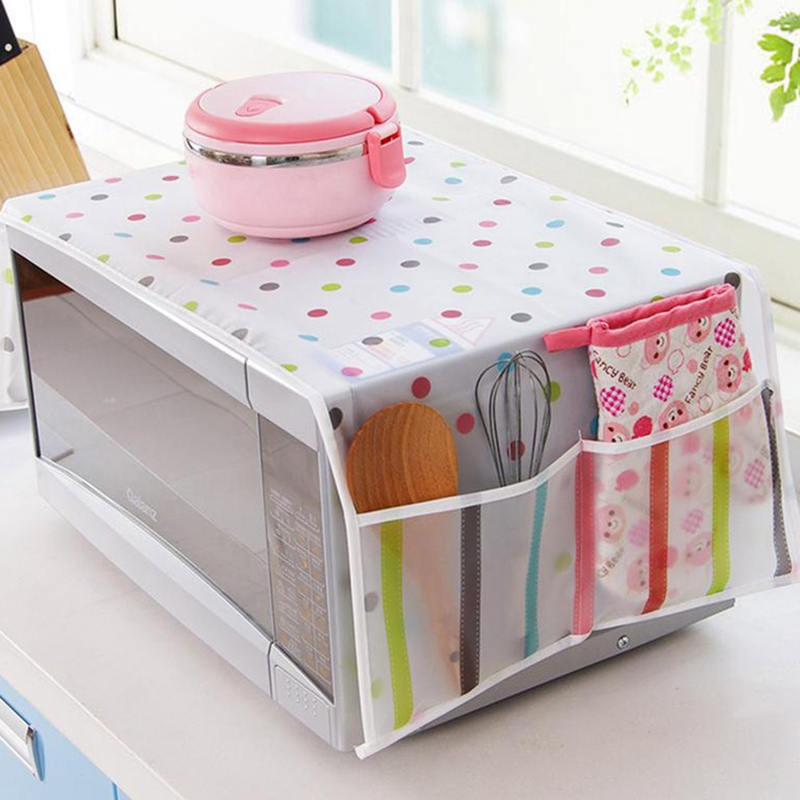 Microwave Dust Cover Refrigerator Dust Cover With Pocket Storage Bag Washing Machine Organizer Pockets Hanging Bag