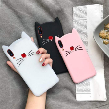 Lovely 3D Cartoon Beard Cat Soft Silicone Phone Case For Huawei P20 Lite P8 P9