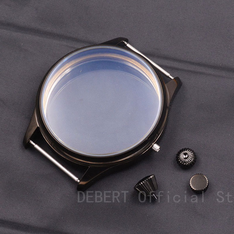 44mm Debert Case black PVD Sterile Case Watch Shell Kit ETA 6497 6498 Seagull <font><b>st3600</b></font> hand winding Movement 3 kinds Crown image