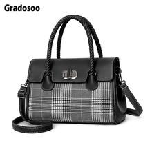 Gradosoo Top-handle Bag Women Fashion Panelled Shoulder Bags For Luxury Leather Handbag Ladies New Crossbody Female LBF653