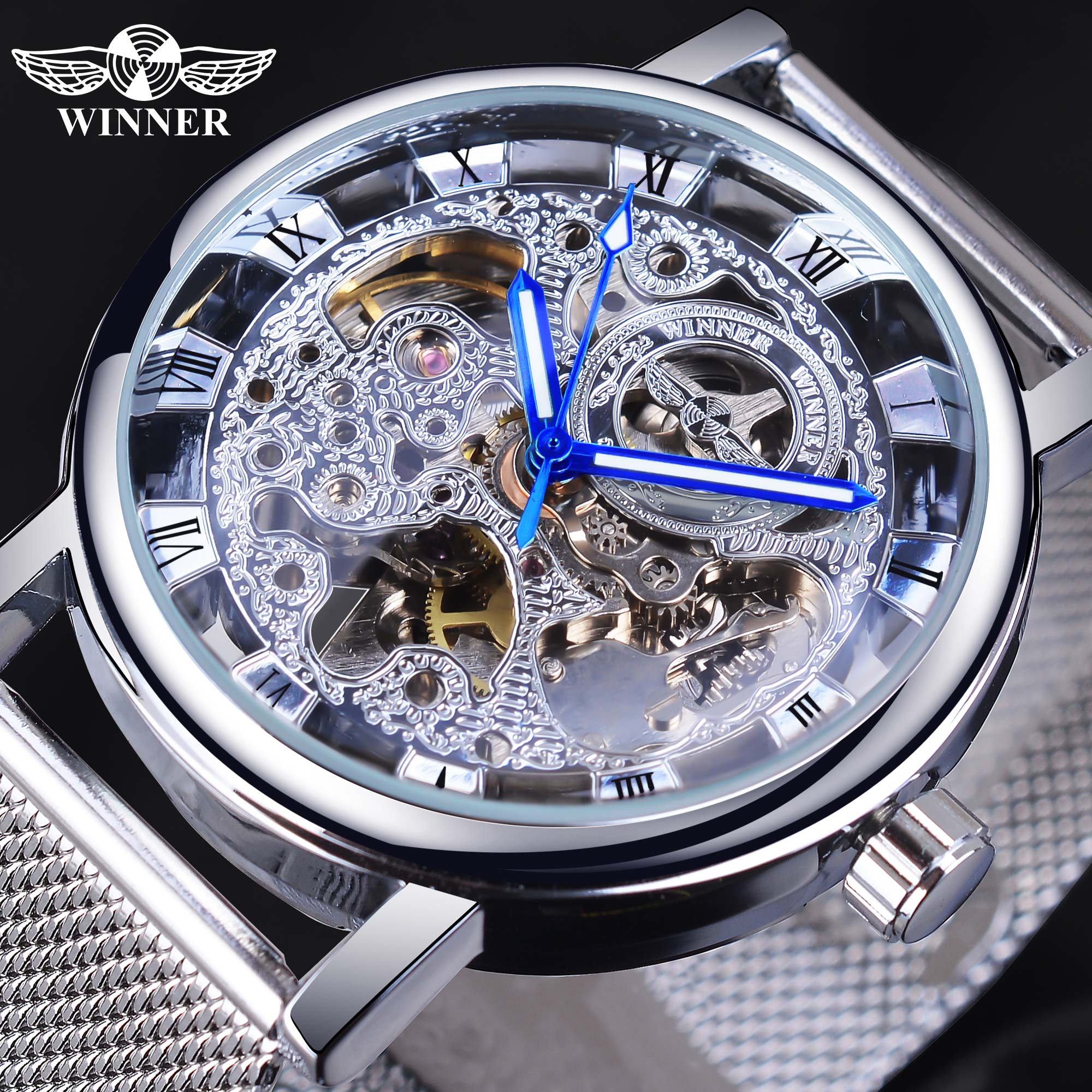 Winner Roman Analog Silver Skeleton Dial Watch Top Brand Luxury Automatic Mechanical Sport Watch Luminous Hand Mesh Band Clock