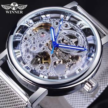 цена на Winner Roman Analog Silver Skeleton Dial Watch Top Brand Luxury Automatic Mechanical Sport Watch Luminous Hand Mesh Band Clock