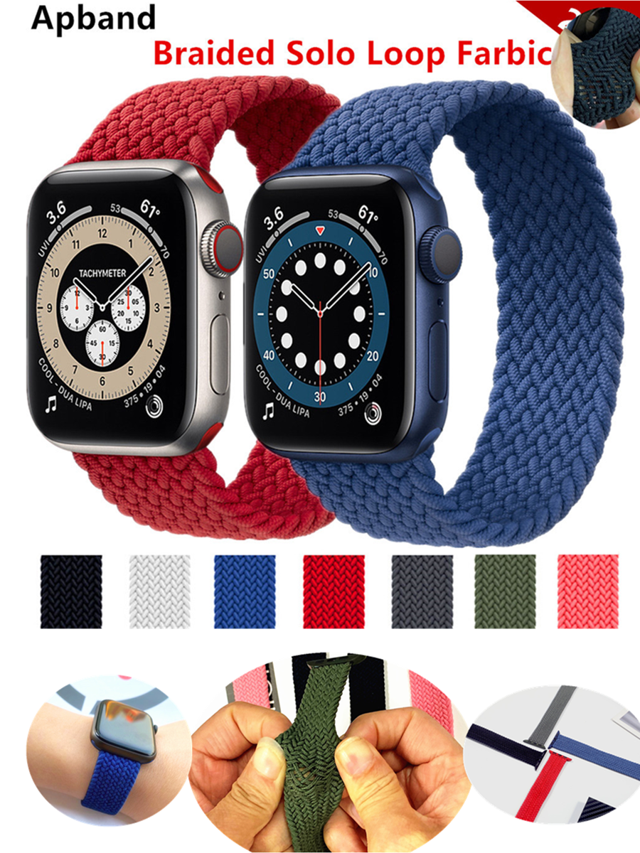 Braided Solo Loop For Apple watch band 44mm 40mm 38mm 42mm Fabric Nylon Elastic belt