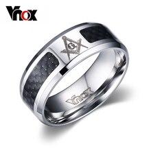 цена Fashion Black Men Rings Stainless Steel Masonic Rings Wholesale Punk Carbon Fiber Wedding Rings for Men Jewelry Free Shipping онлайн в 2017 году