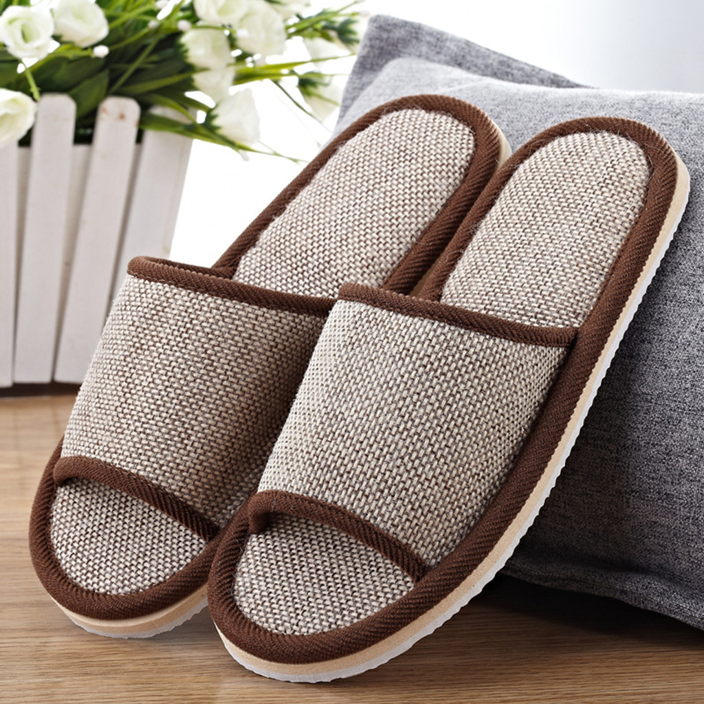 Dropship Home Slippers Indoor Floor Shoes Women Men Natural Flax Silent Sweat Slippers House Wear Shoes