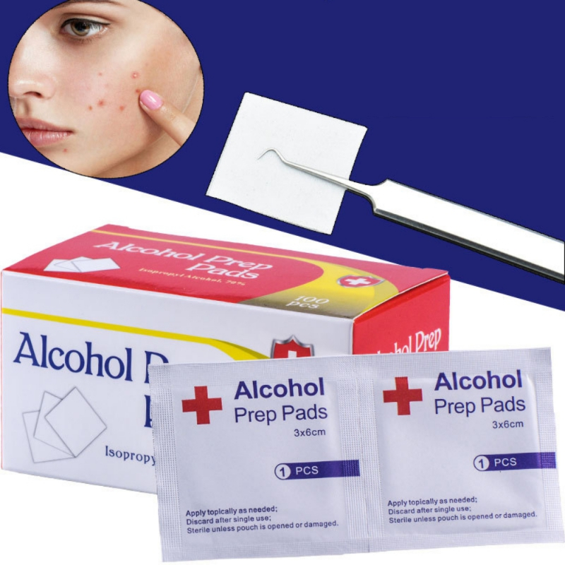 100pcs Antibacterial Cleanser Disposable Alcohol Pads Alcohol Wipes Sterilization Nail Cleaning First Aid