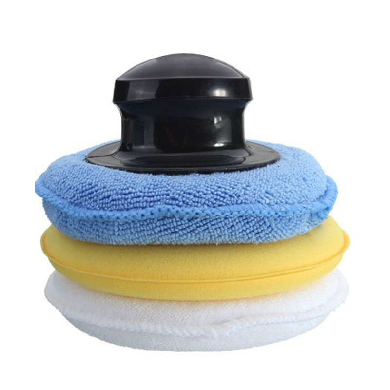 3+1 High-Density Polishing Waxing Sponge Set Microfiber Anti-Scratch Car Care Cleaning With Handle Pad