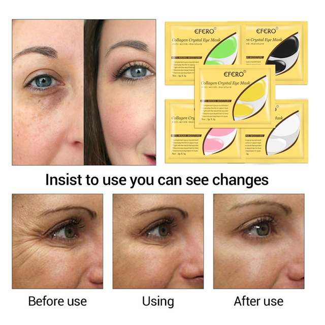 24K Gold Crystal Collagen Eye Mask Eye Patches for Eye Care Remove Dark Circles Anti-Aging Wrinkle Gel Eye Pads Sheet Eye Masks 4