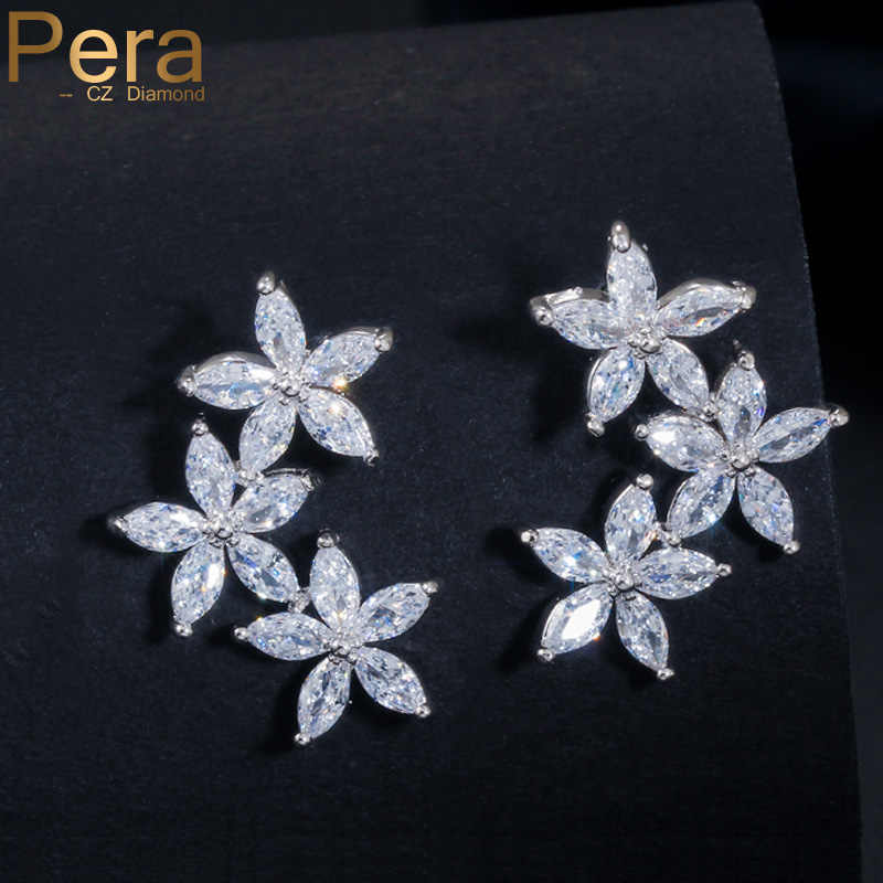 Pera Romantic Silver Color Jewelry Five Petals Flower Shape Cubic Zirconia Stone Women Earrings For Valentine ' s Day Gift E125