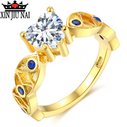 Elegant 14 K Ring For Women Engagement Wedding Female Crystal Waterdrop Shaped Love Heart Gold Color Rings Jewelry Luxury Design