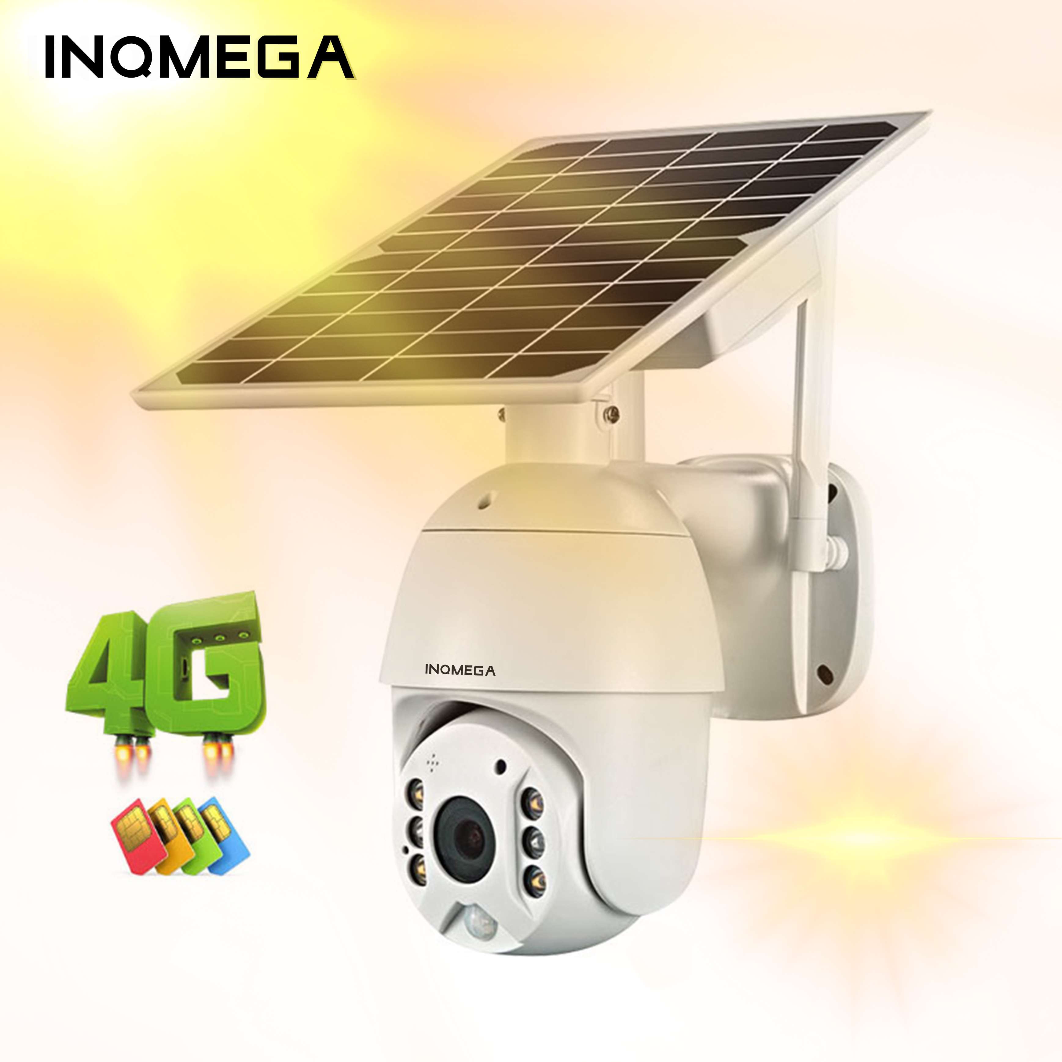 INQMEGA 4G Solar IP Camera WIFI PTZ Dome Starlight Full Color IR Vision P2P Sim Card IR Vision Dome Camera Cloud Storage Camera