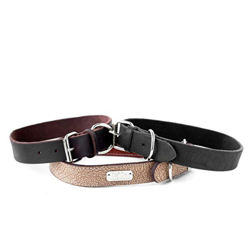Genuine Leather Wear-Resistant Pet Collar Traction Belt Set Dog Only Hand Holding Rope Durable Proof Punch Dog Traction Rope Cus