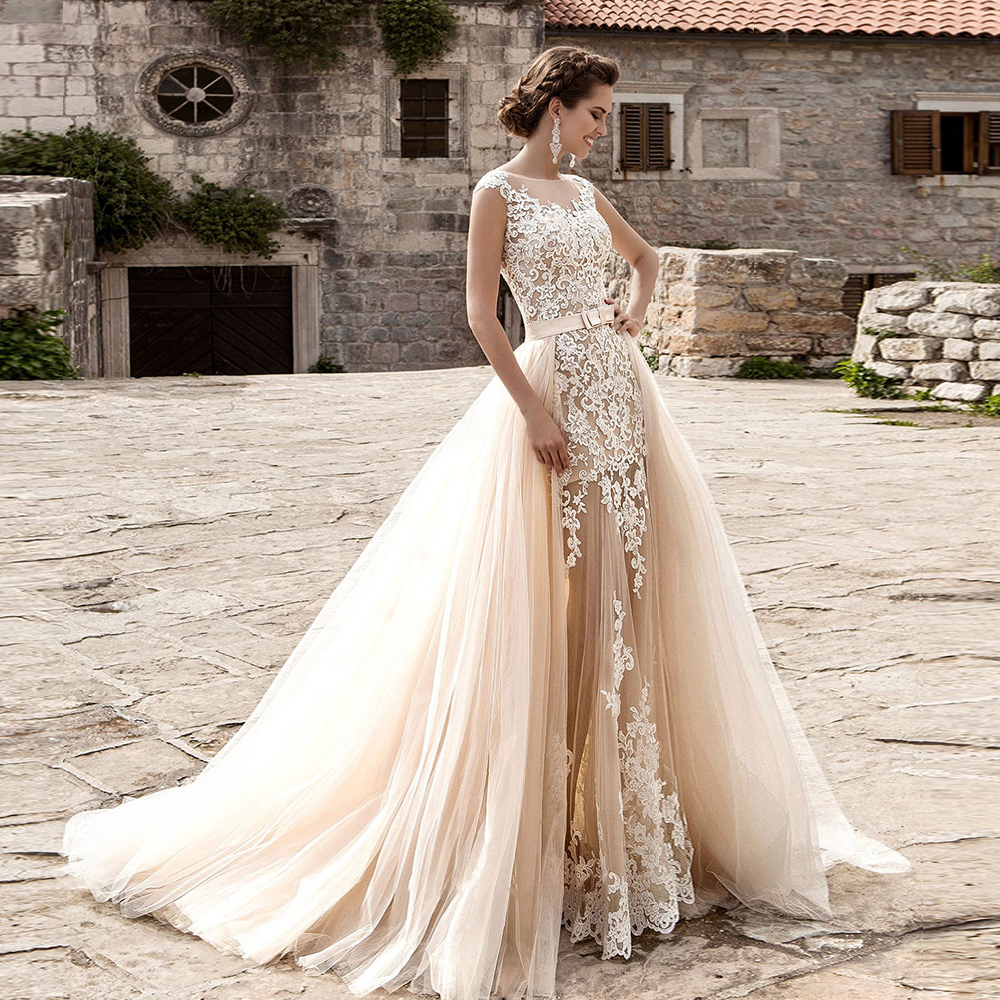 Custom Made Mermaid Wedding Dress With Detachable Train Vestido De Novia Sirena Appliques Champagne 2 In 1 Wedding Gowns Mariage