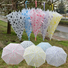 Random Color Transparent Clear Umbrella Long Handle Straight Stick Rain Sun Umbrellas for Wedding Party Favor Men Women Fashion