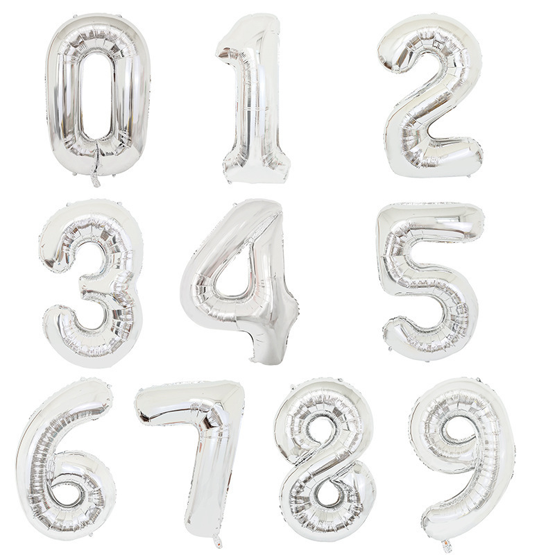 40inch Foil Silver Number Balloons 0 1 2 3 4 5 6 7 8 9 <font><b>18</b></font> <font><b>Years</b></font> Old <font><b>Happy</b></font> <font><b>Birthday</b></font> Party Decoration 16inch Letter Silver Ballon image