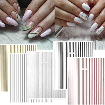1pcs DIY Line-1 3D Nail Sticker Self-adhesive DIY Sticker Decals Tips Manicure Nail Art Decals Manicure Nail Stickers 7.9*10.1cm 1pc letter nail sticker words text geometric 3d nail slider decals manicure nail art adhesive stickers tips nail art decoration