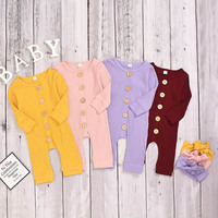 Liva girl Spring Autumn Casual Jumpsuits 3M 18M Baby Girl Infant Long Sleeve Rompers Kids Clothes Baby 4 Colors