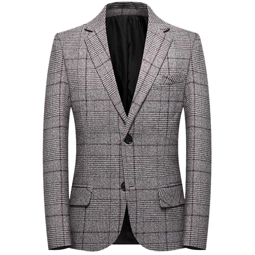 Hommes Plaid formel affaires Blazer/hommes costume manteau/robe de mariage hommes revers coupe mince élégant Blazer manteau café 8.13