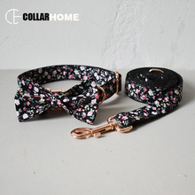Nylon Christmas dog collar and leash set self-design flower pet necklace adjustable collars for big small dogs rose gold