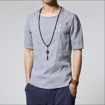 Chinese National Style Men Short Sleeved LinenT-shirt Summer Dragon Embroidery Retro Thin Shirts