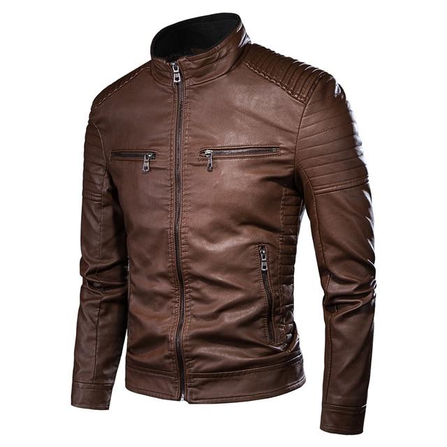 Luulla Men Spring Brand New Causal Vintage Leather Jacket Coat Men Outfit Design Motor Biker Zip Pocket PU Leather Jacket Men 3