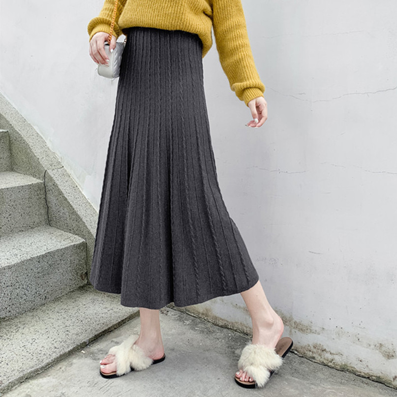Autumn High Elastic Pleated Elegant Plus  Size  Knit Skirt Female Sweet Big Swing Long A Word Thick Winter Skirt 4xl