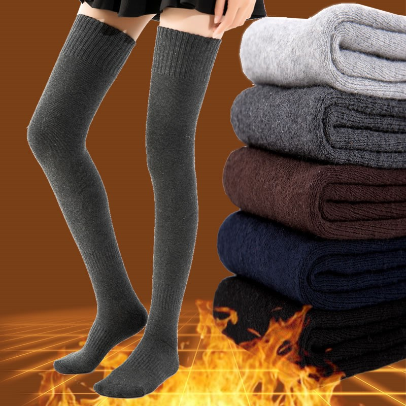 Winter Warm Cotton Thick Terry Socks Women Stockings Casual Thigh High Over Knee High Socks Girls Womens Female Long Knee Sock