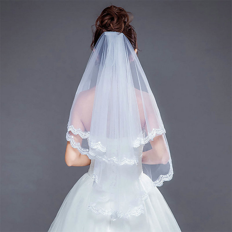 2019 New Style Ivory Two-layer Lace Cathedral Bridal Bride Wedding Party Short Veils With Hair Comb Headpieces Decoration