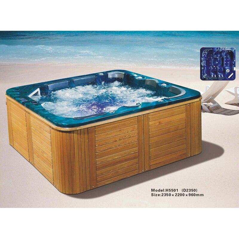 Mulltifunctional forma quadrada acrílico família pátio ao ar livre hidromassagem massagem spa piscina banheiras de hidromassagem-2