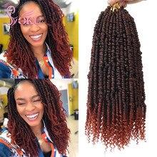SOKU bahar büküm örgüler saç tutkusu büküm 14 inç ön döngü bomba büküm Afro tığ örgü sentetik örgü saç uzatma