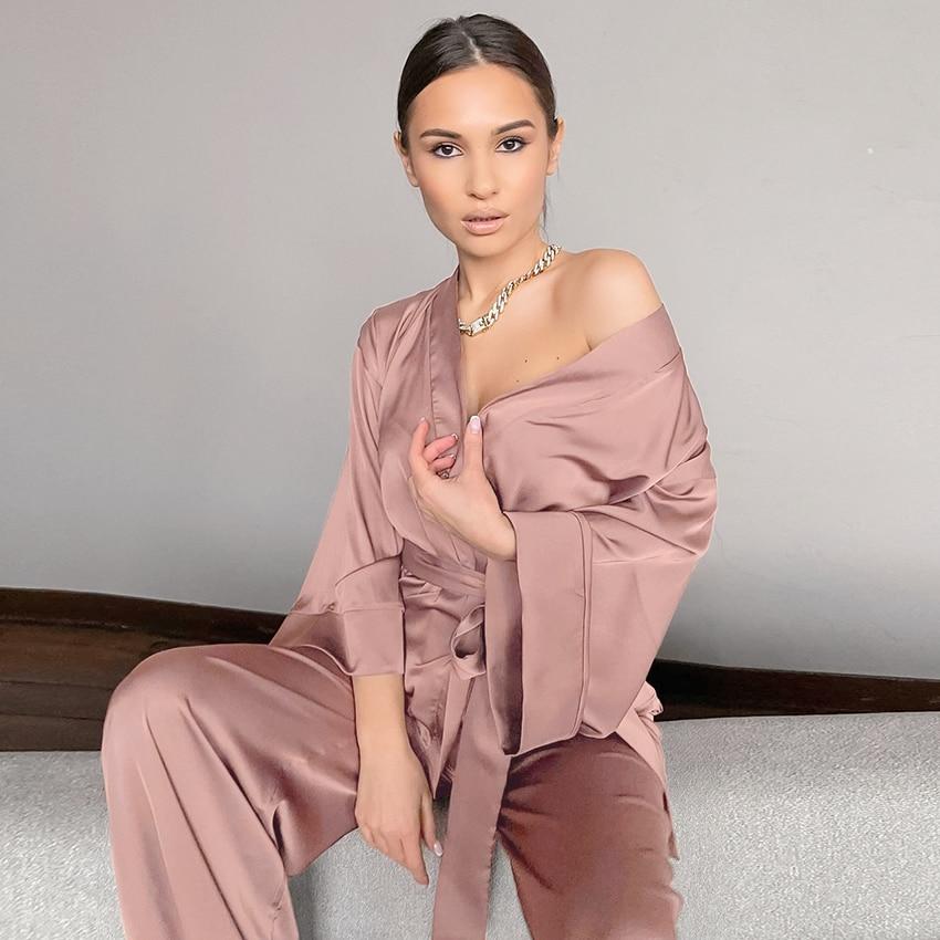Pyjama ensemble robe satin léger pour femme