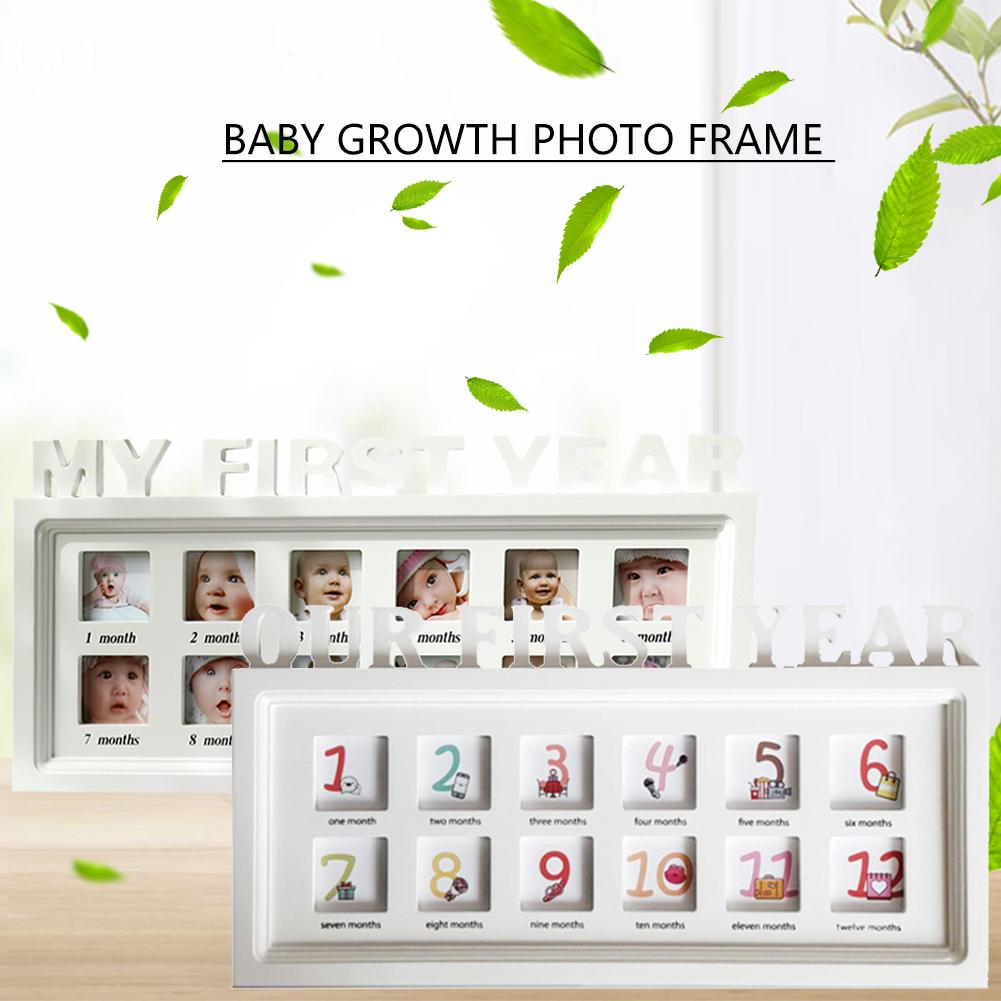 Baby Commemorative Album Innovative Baby Album Photo Frame 12 Month Growth Dust-proof Wooden Frame For Wall Hanging Table