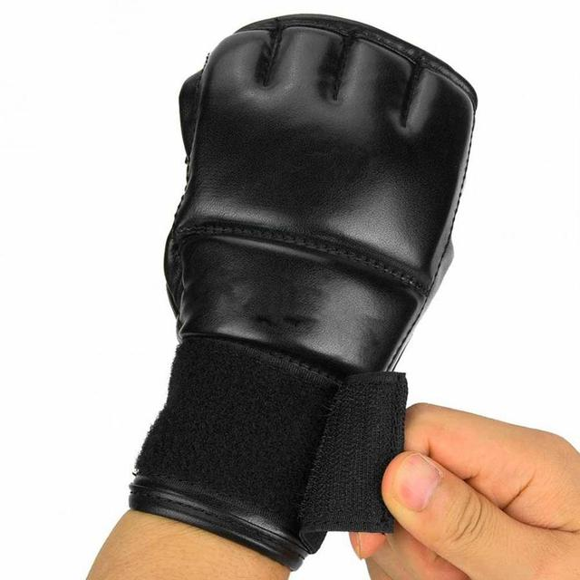 Black Fighting Sports Leather Gloves Tiger Boxing Muay Thai Boxing Gloves Boxing Sanda Boxing Half Finger Gloves 5