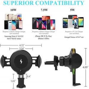 Image 5 - 10W QI chargeur de voiture sans fil RGB lumière automatique serrage rapide support de téléphone de charge dans la voiture pour iPhone XS 8 Huawei Samsung