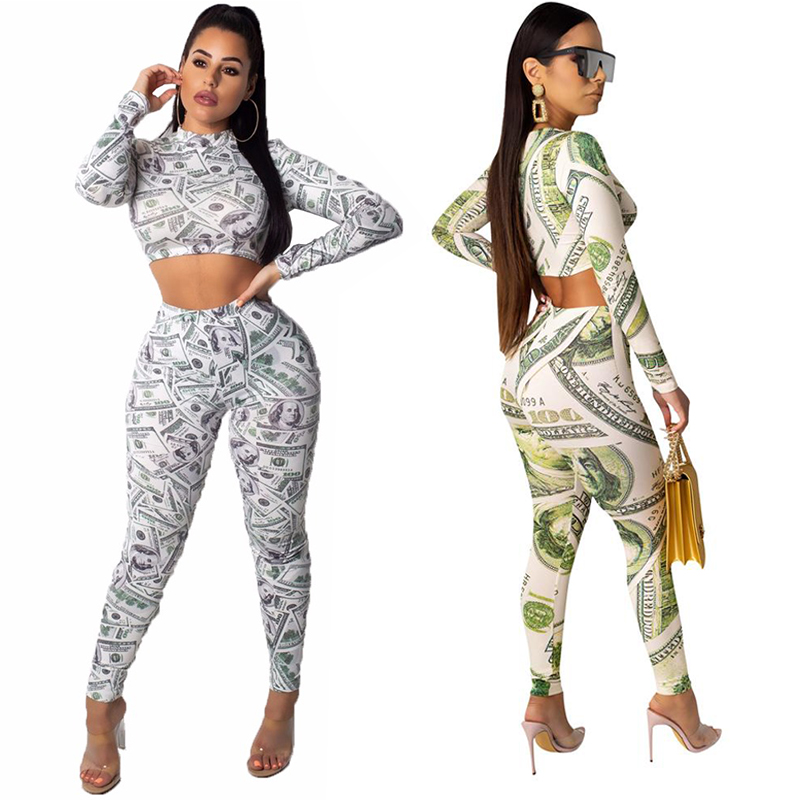 Echoine Women Dollar Print 2 Piece Set Sexy Long Sleeve O Neck Crop Top Pants Bodycon Casual Suit Female Slim Outfits Tracksuit