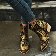 Snake Skin Pu Western Ankle Boots Women High Heels Booties Female Pointed Toe Shoes Ladies Zip Shoes Winter Big Size недорого