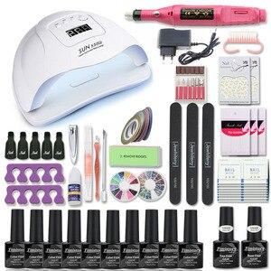 Image 2 - Manicure Set For Nail Kit 80W UV Lamp Dryer Nail Set with Nail Drill Machine 10pcs Nail Gel Polish Soak Off Manicure Tool Kit