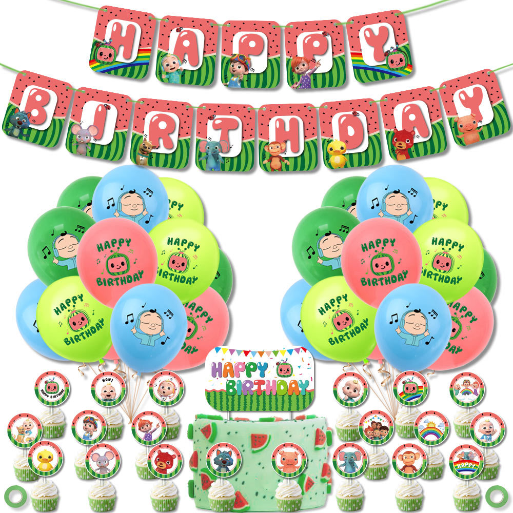 1 Set Cocomelon Theme Party Supplies Cocomelon Balloons Cake Topper Birthday Banner Birthday Party Decor For Baby Kids