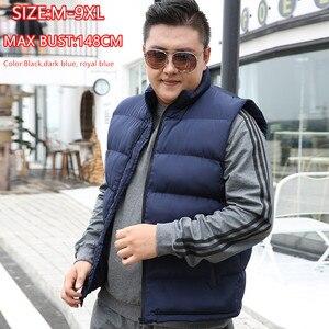 Image 1 - ฤดูหนาวผู้ชายสำหรับผ้าฝ้ายเสื้อแขนกุดเสื้อกั๊ก6XL 7XL 8XL 9XL Manขนาดใหญ่Mannen Black Royal blue Mens Coat