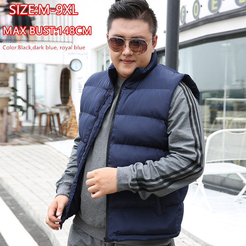 Winter Men Vest For Down Cotton Sleeveless Jacket Waistcoat 6XL 7XL 8XL 9XL Man Big Size Mannen Warm Black Royal Blue Mens Coat