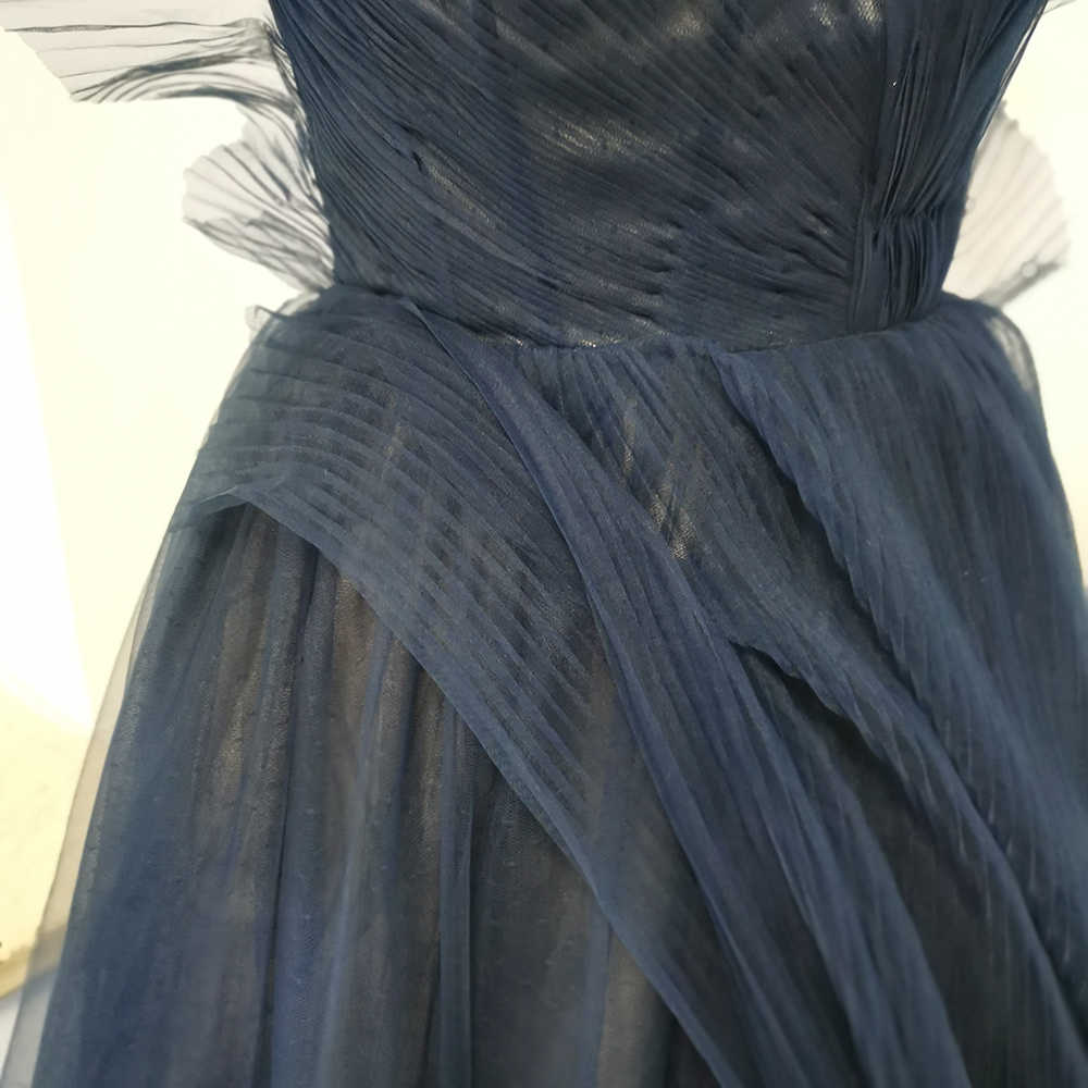 MYYBLE Verngo חיל הים כחול סקסי סימטרי 2020 מסולסל פורמליות ערב ארוך אלגנטי שמלות לנשף שמלות המפלגה Vestido דה Festa