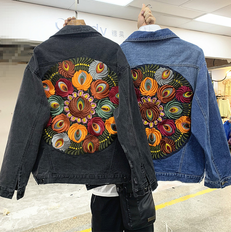 2019 Autumn New Washed Heavy Embroidery Loose Denim Jacket Female
